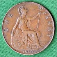 1 PIECE ANGLETERRE ONE PENNY 1910 EDWARDUS VII DEI. GRA. BRITT. OMN. REX. FID. DEF. IND. IMP. N° 106 - Non Classés