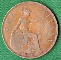 1 PIECE ANGLETERRE ONE PENNY 1920 GEORGIUS V DEI. GRA. BRITT. OMN. REX. FID. DEF. IND. IMP. N° 112 - 1816-1901 : Frappes XIX° S.