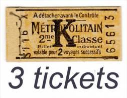 carnet de 3 tickets du M�tropolitain, billet individuel, 2�me classe, K