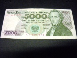 POLOGNE 5000  Zlotych 01/12/1988, 1982-1988,pick N° 150 C, POLSKA, POLAND - Polen