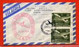 ARGENTINE LETTRE PREMIER VOL DE 1954 DE BUENOS AIRES POUR CORDOBA - Argentina