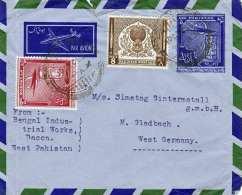 PAKISTAN 1956 - Ganzsache + 2 Fach Zusatzfrankierung Auf LP-Brief V. Dacca N. M.Gladbach - Pakistan