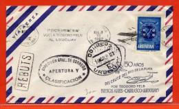 ARGENTINE LETTRE COMMEMORATION PREMIER VOL DE 1962 DE BUENOS AIRES - Argentina