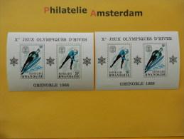 Rwanda 1968, OLYMPICS GRENOBLE: Mi 259-60, Bl. 11-12, ** - Winter 1968: Grenoble