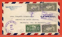 HONDURAS LETTRE DE 1936 DE SAN PEDRO SULA POUR GUATEMALA (MASONIC TEMPLE) - Honduras