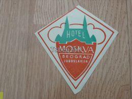 Hotel Moskva Moscow Beograd Jugoslavija Kofferanh�nger luggage tag hotel label Hotel-Aufkleber