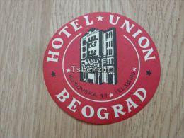 Hotel Union Beograd Jugoslavija Kofferanh�nger luggage tag hotel label Hotel-Aufkleber