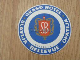 Grand Hotel Opatija Abbazia Slavija Bellevue Jugoslavija Kofferanh�nger luggage tag hotel label Hotel-Aufkleber