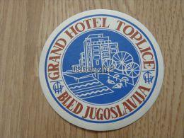 Grand Hotel Toplice Bled Jugoslavija Kofferanh�nger luggage tag hotel label Hotel-Aufkleber