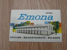 Hotel Emona Droujba Balkantouriste Bulgarie Kofferanh�nger luggage tag hotel label Hotel-Aufkleber