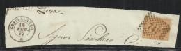 ITALIA REGNO ITALY KINGDOM 1865 VITTORIO EMANUELE II  CENTESIMI 10 CENT. GIALLO OCRA USATO USED CASTELLAZZO 16 2 1877 - Usati