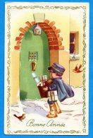 FR614, Bonne Année, Petit Facteur, Fantaisie, Circulée - Post