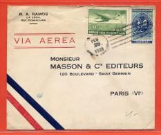 DOMINICAINE LETTRE DE 1939 DE LA VEGA POUR PARIS FRANCE - Dominican Republic