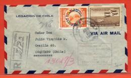 DOMINICAINE LETTRE RECOMMANDEE DE 1940 DE TRUJILLO POUR COQUIMBO CHILI - Dominican Republic