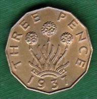 1 PIECE ANGLETERRE THREE PENCE 1937 GEORGIUS VI D: G: BR: OMN: REX F: D: IND: IMP. N° 132 - 1902-1971 : Monete Post-Vittoriane