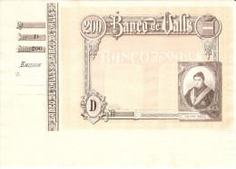 BILLETE DE PRUEBA DE 200 PTAS DEL AÑO 1911 DEL BANCO DE VALLS SIN NUMERACION Y SIN FIRMAR (BANKNOTE) - [ 1] …-1931 : Prime Banconote (Banco De España)