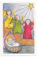 Enfant-Jésus Dans Un Berceau, étoile Et Anges. Carte à Colorier Coloriée. - Autres