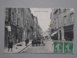 Ref4077 JU CPA Animée De Bellac (Limousin) - Rue Thiers - Commerces : Tailleur Coiffeur Henriot Coutellerie 1911 - Bellac