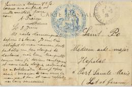 CACHET HOPITAL TEMPORAIRE 50 TONNEINS LOT ET GARONNE - Postmark Collection (Covers)