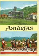 PR1659 - POSTAL - ASTURIAS - POZO MINERO Y BAILE TIPICO - Asturias (Oviedo)