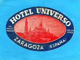 ETIQUETTE HOTEL UNIVERSO ZARAGOZA ESPANA