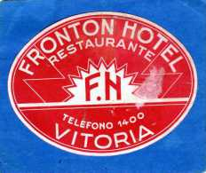 ETIQUETTE HOTEL FRONTON HOTEL RESTAURANTE VITORIA ESPAGNE