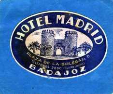 ETIQUETTE HOTEL MADRID BADAJOZ ESPANA