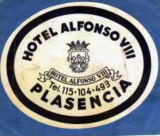 ETIQUETTE HOTEL ALFONSO VIII PLASENCIA ESPANA - Etiquettes D'hotels