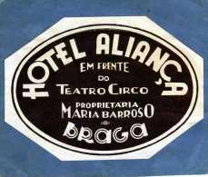 ETIQUETTE HOTEL ALIANCA EM FRENTE DO TEATRO CIRCO  PROPRIETARIA  MARIA BARROSO A BRAGA ESPANA