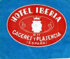 ETIQUETTE HOTEL IBERIA EN CACERES Y PLASENCIA ESPANA