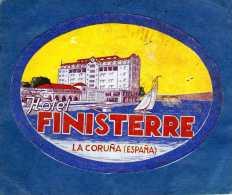 VIEILLE ETIQUETTE HOTEL FINISTERRE LA CORUNA ESPANA