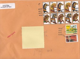 2013 United States U.S. - Nice Cover Sent To Romania 12 Stamps Horses Toys Energy Stationery Entier - Postal Stationery