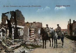 Guerre - 1914-1918 - FRANCE -  CHAMPAGNE-ARDENNE - SOMME-PY - In Den Trümmern Von Somme-Py - Dans Les Ruines De Somme-Py - Guerra 1914-18