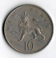 ANGLETERRE  -  10 Pence 1973 - 10 Pence & 10 New Pence