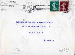 BUSTA POSTALE PUBBLICITARIA-DITTA F. PIROLA-PARIS -25-1 -1920 X MILANO-ITALIA - Storia Postale
