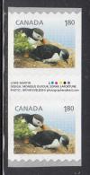 Canada MNH Scott #2713 Gutter Pair Of 2 With Inscription $1.80 Atlantic Puffin - Baby Wildlife Definitives Coils - 1952-.... Règne D'Elizabeth II