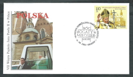 2002 VATICANO VIAGGI DEL PAPA POLONIA KRAKOW - SV11-3 - FDC