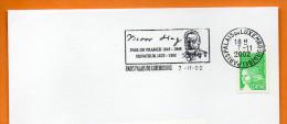 PARIS    VICTOR HUGO  PAIR DE FRANCE SENATEUR   7 / 11 / 2002   Lettre Entière N° L 162 - Postmark Collection (Covers)