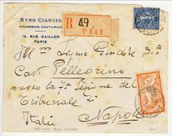 Francia 1927, Fr 2 Arancio E E Verde-azzurro Y&T N. 145 E Fr. 1 N. 205 Azzurro Su Raccomandata Per Napoli - 1921-1960: Periodo Moderno