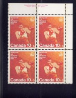 CANADA 1975. # B8i, COMBATS SPORTS,  MNH    UR   BLOCK   ** Red Dot On Forcep - Unused Stamps