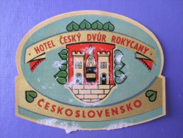 MISC HOTEL MOTEL INN PENSION HOUSE CESKOSLOVENKO CZECH ROKYCANY LUGGAGE LABEL ETIQUETTE AUFKLEBER DECAL STICKER