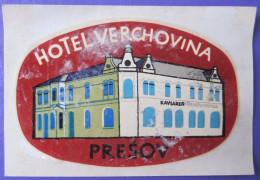MISC HOTEL MOTEL INN PENSION HOUSE VERCHOVINA PRESOV SLOVAKIA CZECH LUGGAGE LABEL ETIQUETTE AUFKLEBER DECAL STICKER