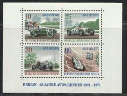 GERMANY  GERMANIA BERLIN BERLINO 1971 RACING CARS AVUS-RENNEN RALLYE AUTOMOBILI BLOCK SHEET BLOCCO FOGLIETTO MNH - [5] Berlino