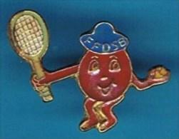 PIN´S //   ** F .F .D .S .B. * BADMINTON * Fédération Française Pour Le Don De Sang Bénévole ** - Badminton