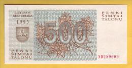 LITUANIE - Billet De 500 Talonu. (Loups). 1993. Pick: 46. NEUF - Lituanie