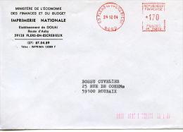 EMA Sur Enveloppe Entete Imprimerie Nationale,59 Douai,Flers-en-Escrebieux,Nord,lettre Obliterée 24.10.84 Flers En Escre - Hologrammes