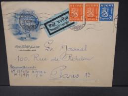 FINLANDE - ENVELOPPE ILLUSTREE D HOTEL   DE HELSINSKY POUR PARIS  PAR AVION 1938 AFF BICOLORE  VOIR  LOT P3638