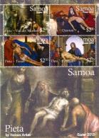 sam1504s1 Samoa 2015 Easter Painting Van der Weyden Quarton Tizian and Perugino s/s