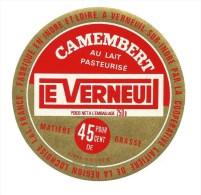"""Etiquette """" LE VERNEUIL """" Camembert Au Lait Pateurisé Coop. Verneuil Sur Indre - Fromage"""