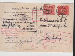 Inf305/ Oberschlesien, Gleiwitz Nach Ratibor 30.12.22 - Covers & Documents